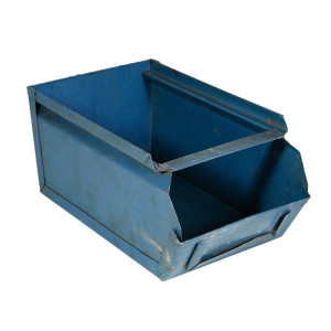 stalen magazijnbakje blauw