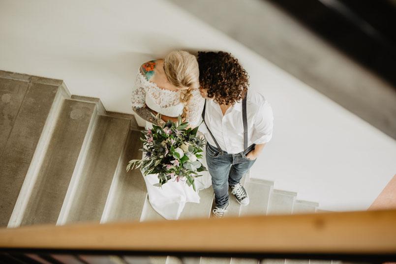wedding shoot industrial vintage